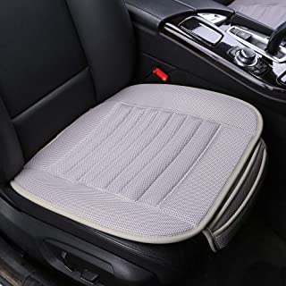 Car Seat Covers,BambooLady Universal Car Seat Covers,Grid Linen Bottom Seat Covers For Cars,Built-in Bamboo Charcoal Particles,Comfortable Ventilated [1Pc Gray Front Seat]