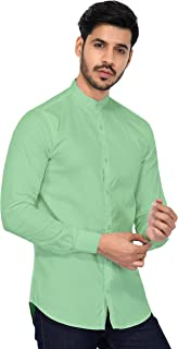 U-TURN Men's Cotton Solid Chinese Collar Shirt