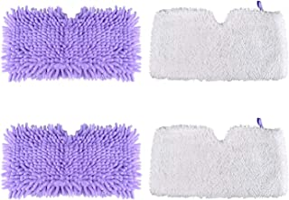TOPGEEK Microfiber Chenille Steam Mop Pads Replacement Washable Cleaning Pads for Shark Steam Pocket Mops S3500 Series S3501 S3601 S3550 S3901 S3801 SE450 S3801CO S3601D 2 Pcs White and 2 Pcs Purple