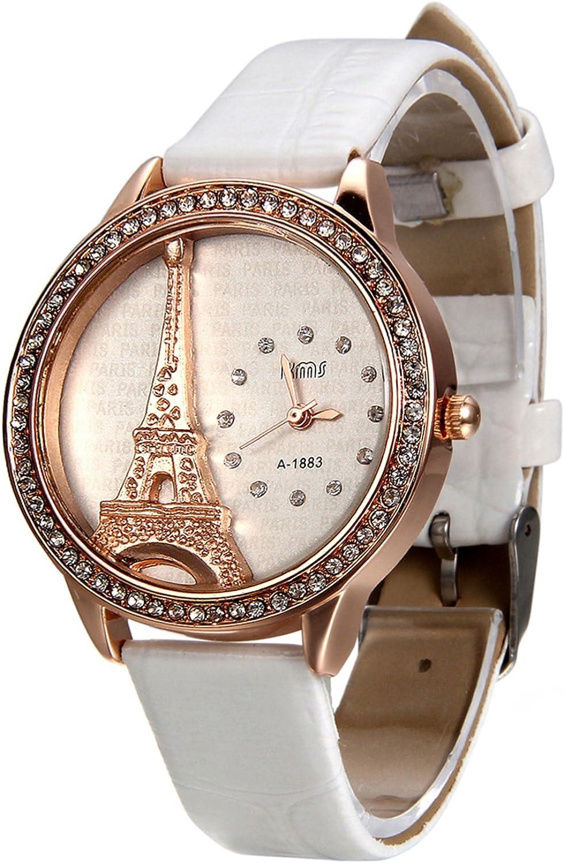 Avaner Ultra-Cheap Deals Elegant Bling Rhinestone Accented White Leat Eiffel Tower 5 popular