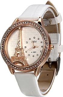 Blanco Reloj para Mujer La Torre Eiffel con Diamantes Reloj de Pulsera para Chica, Diseño Vintage Romantico Regalo para Sa...