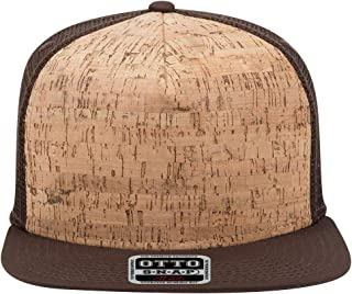 Product of Ottocap Polyester Foam Front Square Flat Visor, Five Panel Pro Style Mesh Back Trucker Snapback Hat -D.BRN/Cork/D.BRN [Wholesale Price on Bulk]