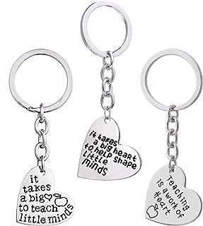 9eae3554d5 3PCS Teacher Appreciation Gifts Key Chain Women Men It Takes a Big Heart to  Teach Little