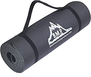 Black Mountain Products Yoga Mat and Carrying Strap, Black