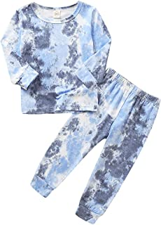 Toddler Baby Boy Girls Tie-Dye Outfits Long Sleeve Cotton Pajama Bottoms Set Shirt Top Pants 2Pcs Fall Sleepwear Clothes