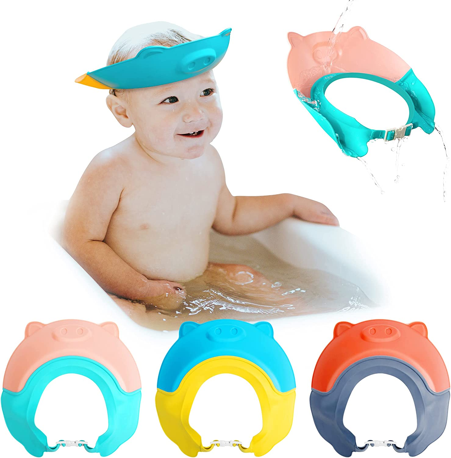 codree 3Pcs Baby Shower Cap Protection Bath Cap,Baby Shampoo Cap,Soft Adjustable Visor Hat,Washing Hair Cap Protects Baby's Face and Ears from Water for Toddlers,Baby,Kids,Children(Cartoon Pig)