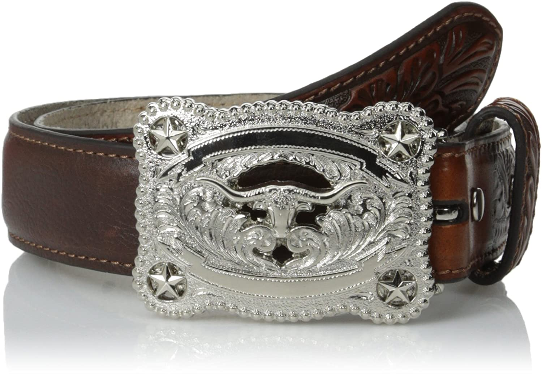 Nocona Boys Tooled Leather Longhorn Belt