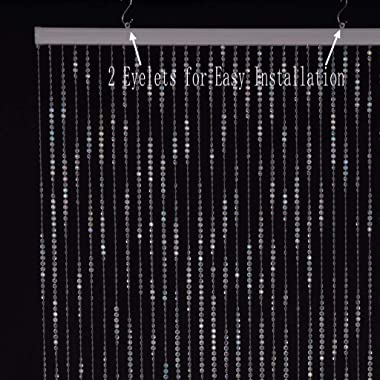 3ft x 6ft Faux Crystal Iridescent Beaded Curtain for Doorway Room Divider Party Wedding Kids Bedroom Decorations(1PC,3FTX6FT,