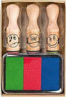 Brunnen 1048692 - Set di 3 stampini con smiley, in legno, con scatola con 3 colori