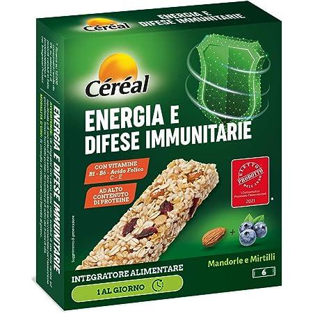Céréal Integratore Energia e Difese Immunitarie, Barrette Integratori Alimentari, con Mandorle e Mirtilli, 186 g