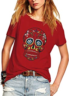 Weigou Woman T Shirt Floral Skull Contrast Color Junior Tops Tee Punk Street Style Lady Shirt
