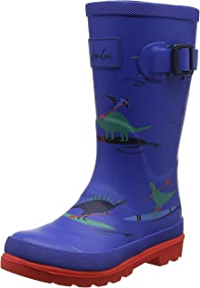 Joules Printed Welly Dino Paddle Blue Rubber Junior Wellingtons Boots