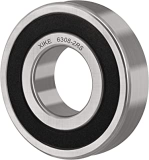 XiKe 2 Pcs 6308-2RS Double Rubber Seal Bearings 40x90x23mm, Pre-Lubricated and Stable Performance and Cost Effective, Deep Groove Ball Bearings.