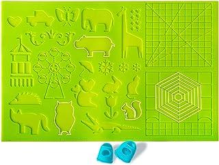DERUC Tapis en silicone 3D - Motif créatif - 41,5 cm x 27,5 cm - Avec modèles de base pour enfant et débutant - 2 lits de ...