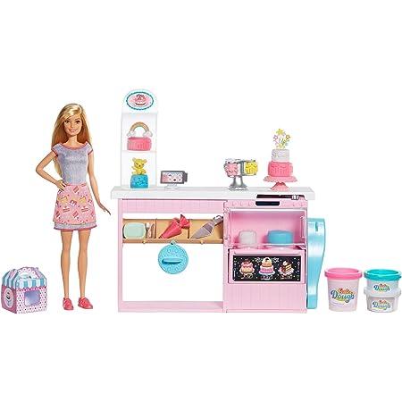 Barbie La Pasticceria Playset con Bambola Bionda, Isola per Cucinare, Forno e Accessori, Giocattolo per Bambini 4+ Anni