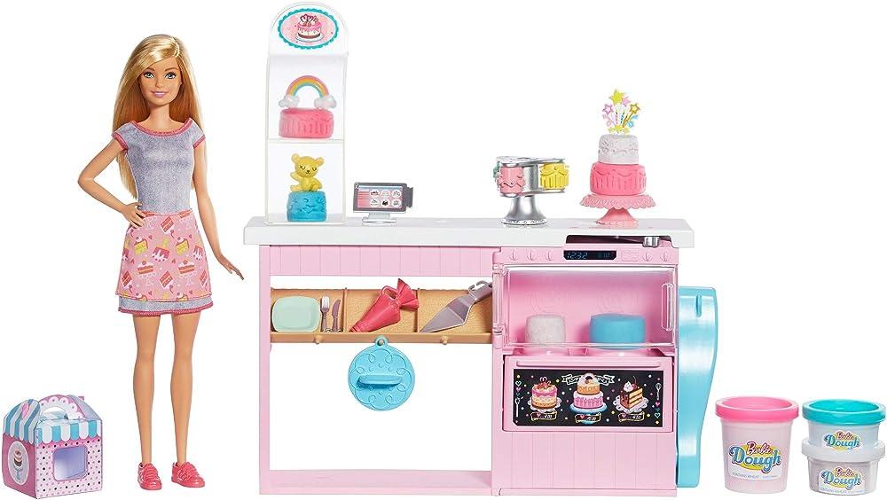 Barbie ,la pasticceria playset con bambola bionda, isola per cucinare, forno e accessori GFP59