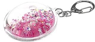 Creationtop Liquid Keychain Fashionable Glitter Powder Moving Floating Keychain (Pink Dark/Stars/Round)