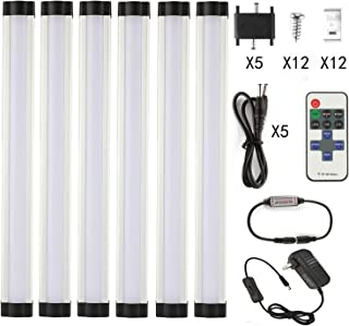 LXG Dimmable LED Under Cabinet Lighting,18W 5000K Daylight 1600LM, Milk Cover Led Strips,11key IR Remote Control ,6 Pack