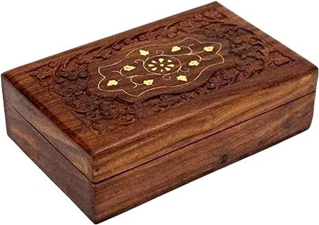 Amazon Com Wooden Jewelry Storage Box Trinket With Inlay Design Handmade Solid Brass Inlay Sheesham Wood Multipurpose Organizer Storage Case 8 X 5 X 2 Home Kitchen