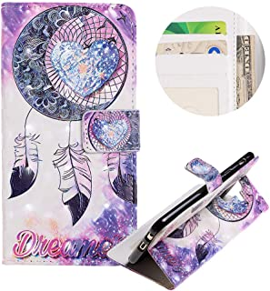PU Leather Wallet Case for Samsung Galaxy A6 Plus 2018,Moiky Stylish 3D Love Wind Chimes Pattern Embossed Slim Flip Stand Card Slots Shockproof Protective Cover for Samsung Galaxy A6 Plus 2018