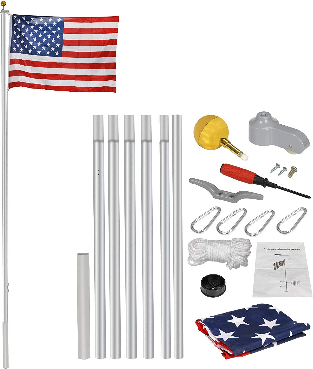 20ft Flagpole Aluminum Kit Sectional Halyard 1x お買い得品 A 安全 Pole Outdoor