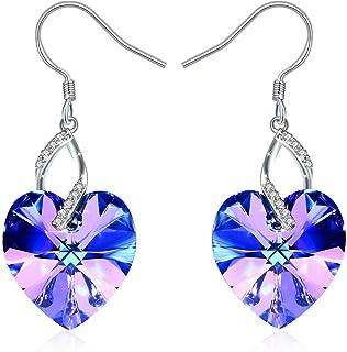 Swarovski Elements 925 Sterling Silver Crystal Heart Earrings for Women and Ladies Gift JRosee Jewelry JR916