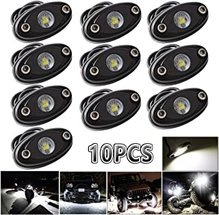 LEDMIRCY LED Rock Lights White Kit for JEEP Off Road Truck Auto Car Boat ATV SUV Waterproof High Power Underbody Glow Neon Trail Rig Lights Underglow Lights Shockproof(Pack of 10,White)