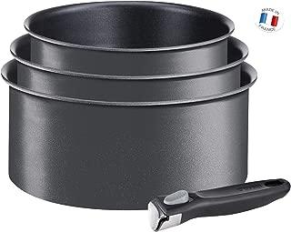 Tefal Ingenio Expertise - Set de 3 cazos de aluminio con mango extraíble de 16, 18 y 20 cm con 1,5, 2 l y 2,5 l de capacidad, antiadherente y extra de titanio, todo tipo de cocinas incluido inducción