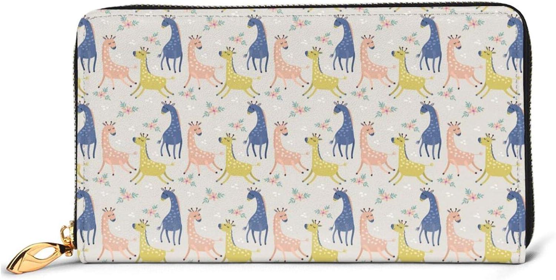 Cute Giraffe Leather Wallet Women Long Clutch B Zip Purse quality assurance Max 52% OFF Around