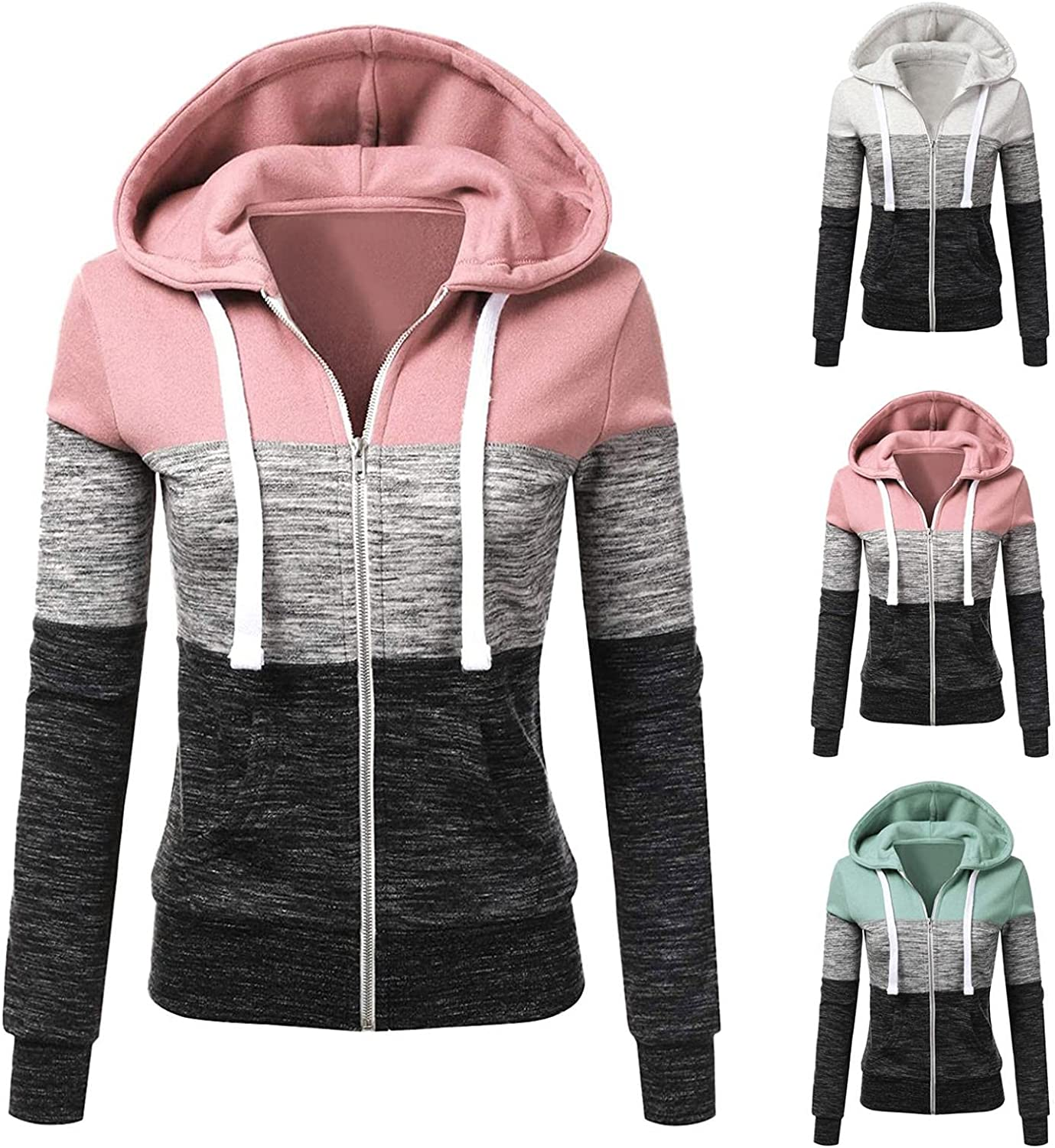 HCNTES Hoodies for Women Casual Zip Up Long Sleeve Top Trendy Winter Stripe Blouse Loose Fit Pullover Sweatshirts