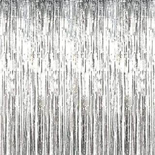 Beauenty Metallic Tinsel Foil Shimmer Fringe Rain Curtains Backdrop Curtain for Photo Background Decorations, Shimmer Tin...