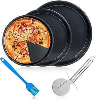 ceuao Plaque Pizza, Plaque de Cuisson pour Four, Revêtement Anti-adhérent, moules à Pizza, Acier au Carbone Plat a Pizza p...