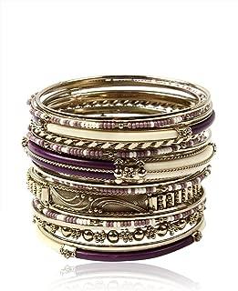 Amrita Singh Monte Carlo Bangle Set Purple/Ivory Size 8
