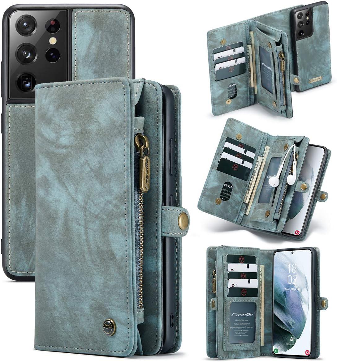 Galaxy S21+ Plus Wallet Case,AKHVRS Handmade Premium PU Leather Wallet Case,Zipper Wallet Case [Magnetic Closure] Detachable Magnetic Case & Card Slots for Samsung Galaxy S21+ Plus 6.7