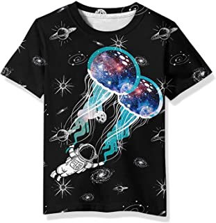 EOWJEED Boys Girls Shirts Short Sleeve 3D Print Graphic Funny Colorful Summer Tee Shirts for Kids 6-16 Years