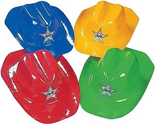 Fun Express - Plastic Bright Color Cowboy Hats for Party - Apparel Accessories - Hats - Cowboy Hats - Party - 12 Pieces