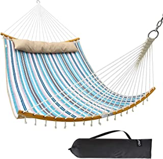 Ohuhu Double Hammock Quilted Fabric Swing with Strong Curved-Bar Bamboo & Detachable Pillow, 55
