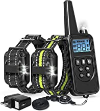 Veckle Dog Training Collar, Waterproof Rechargeable Shock Collar for Dogs 2600ft Dog Shock Collar with Remote, LED Light, Beep, Vibration, Charger, Dog Electronic Collar for Large and Medium Dogs