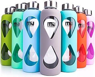 Botella de agua de vidrio de borosilicato, de Miu Color®, respetuosa con el medio ambiente, con funda de silicona antideslizante, sin BPA, PVC, plástico ni plomo