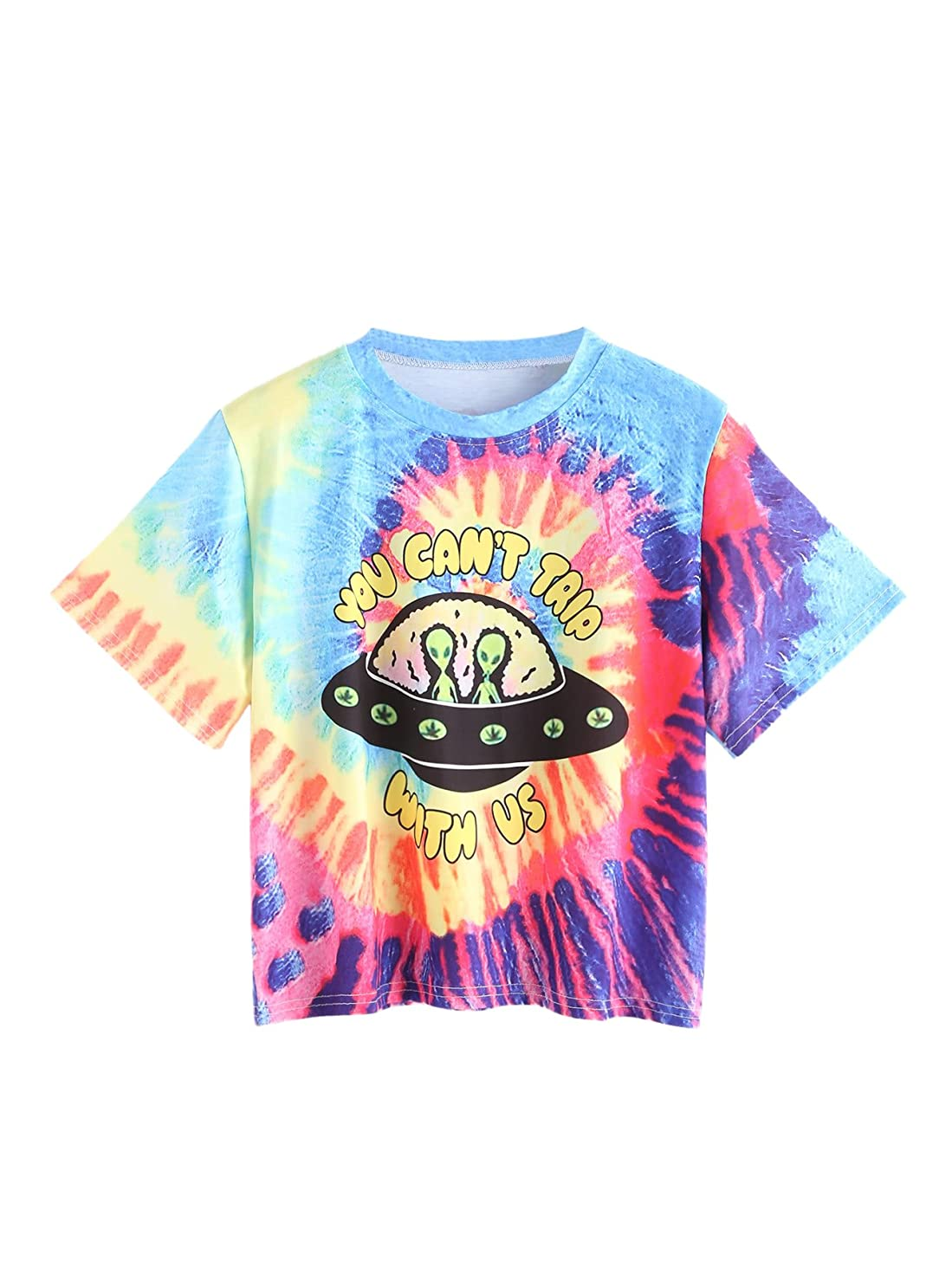 Romwe Women's Colorful Tie Dye Ombre Round Neck Tee Shirt Top