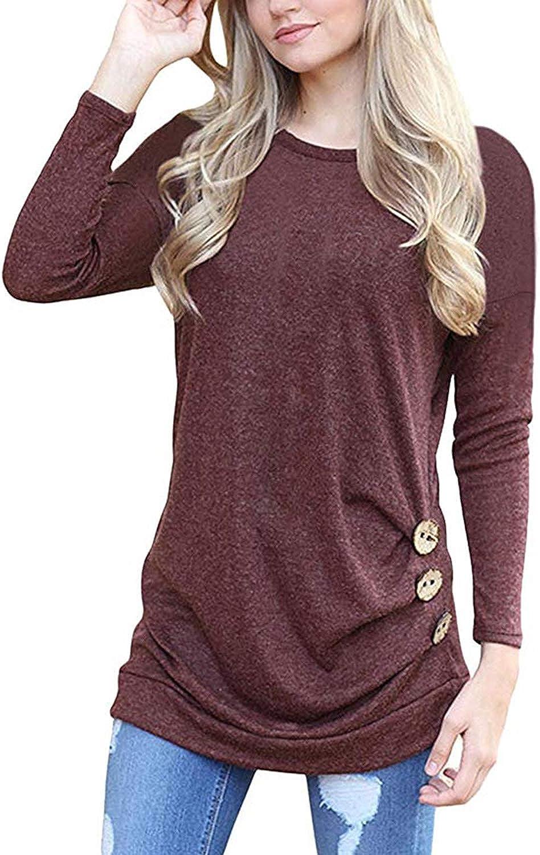 WNEEDU Women's Casual Tunic Tops Long Sleeve Shirts Fall Blouses