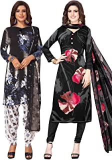 S Salwar Studio Women's Pack of 2 Synthetic Printed Unstitched Dress Material Combo-MONSOON-2870-2888