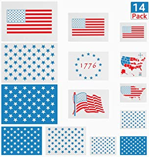 14 Pack American Flag Stencils, Reusable 50 Star Stencil, USA Map/13 Star 1776 Templates for Painting on Wood, Fabric, Paper, Wall DIY Drawing Craft(6 Styles)