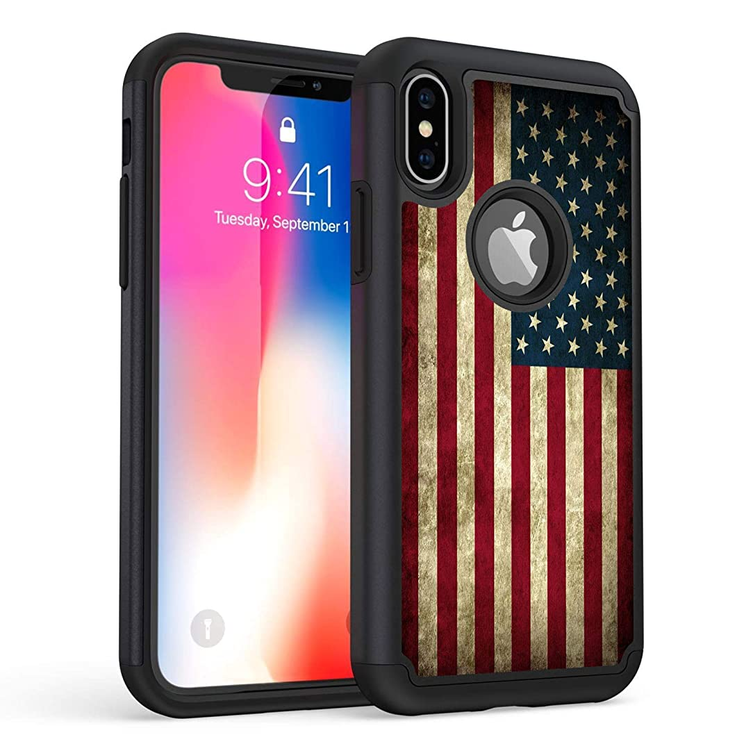 iPhone XR Case,Rossy Old American Flag US Flag Design Shock-Absorption Hybrid Dual Layer Hard PC and Soft Silicone Armor Defender Full-Body Protective Case Cover for Apple iPhone XR 6.1 Inch (2018)