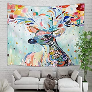 NYMB Watercolor Painting Sika Deer Wallpaper Tapestry Wall Hanging, Elegant Bohemian Mandala Animal Wall Tapestry Art for Home Decorations Dorm Decor Living Room Bedroom Bedspread, 60