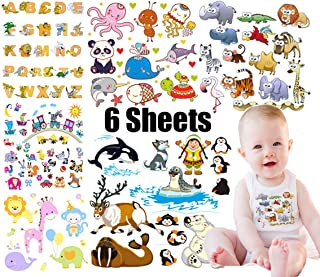 Baby Iron on Patches Animals Letters Transfers 6 Sheets Kids Clothes Pattern Paper-Transfer Patch Boy Girl Clothes T-Shirt, Dress, Shirt(86 Patterns)