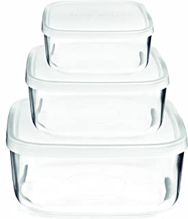 Bormioli Rocco Frigoverre Square Glass Food-Storage Containers with Lids, Set of 3