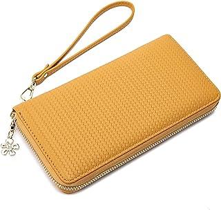 Women's Wallet With Wrist Strap Bifold RFID Blocking Cell Phone Wristlet Clutch Long Purse Zipper Closure (Mustard Yellow)