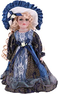 Perfeclan 30cm Vintage Porcelain Doll with Golden Hair, Creative Valentin Gift for Girlfriend, Dollhouse People Display Decor Collection