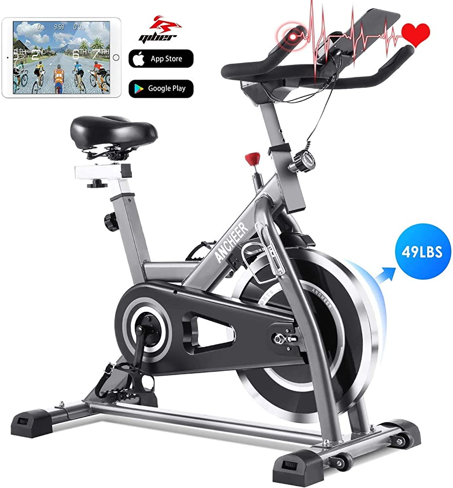 Profun fit, bicicletta spinning, cyclette fitness cardio, display lcd, nero+grigio